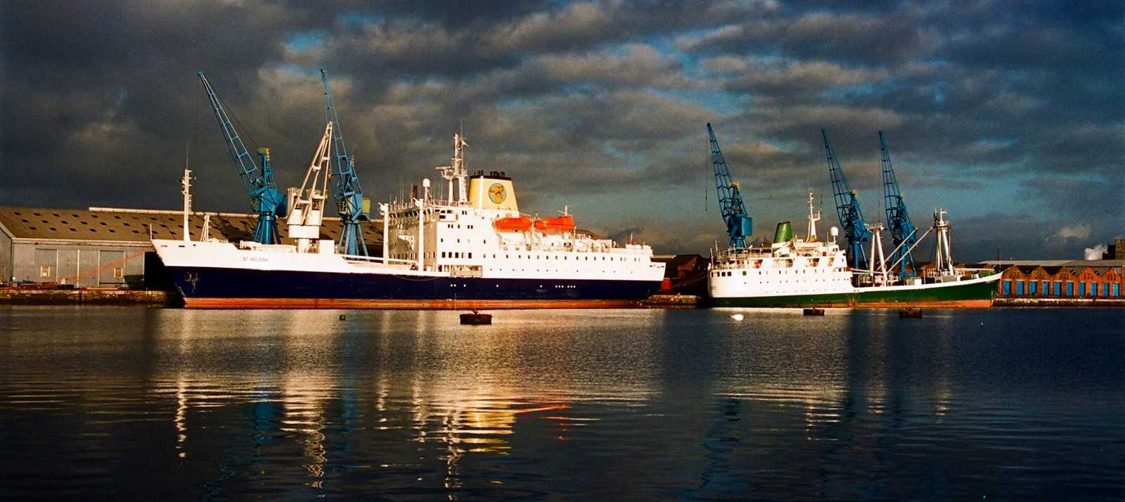 The two RMS St Helena s, together in Cardiff, 1990