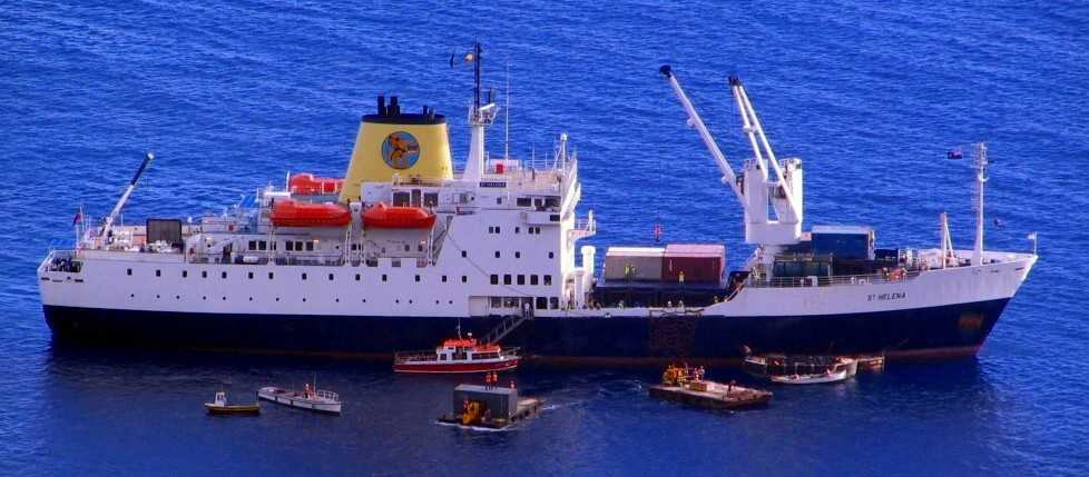 RMS St Helena with lighters & tenders Saint Helena Island Info Glossary