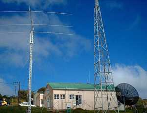 Antennas, L-R: New SW antenna; OB Receiver (on roof); MW antenna (only 1 pole); BBC Satellite receiver
