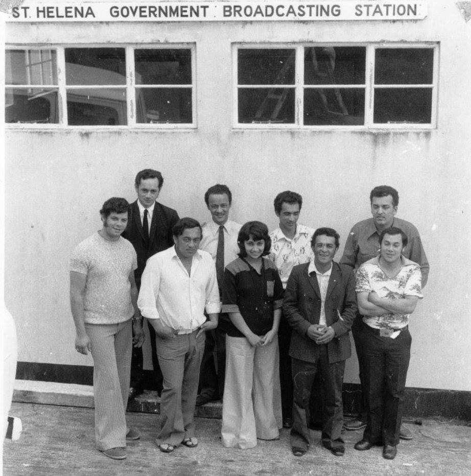 Probably from around 1978. From left to right (back) Bert Constantine; Eric George (Officer in Charge of RSH); Len Joshua; Stedson Francis; (front) Tony Leo (Station Manager); Derek Francis; Cynthia Bennett; Vincent March; Geoffrey Francis Saint Helena Island Info Radio St Helena
