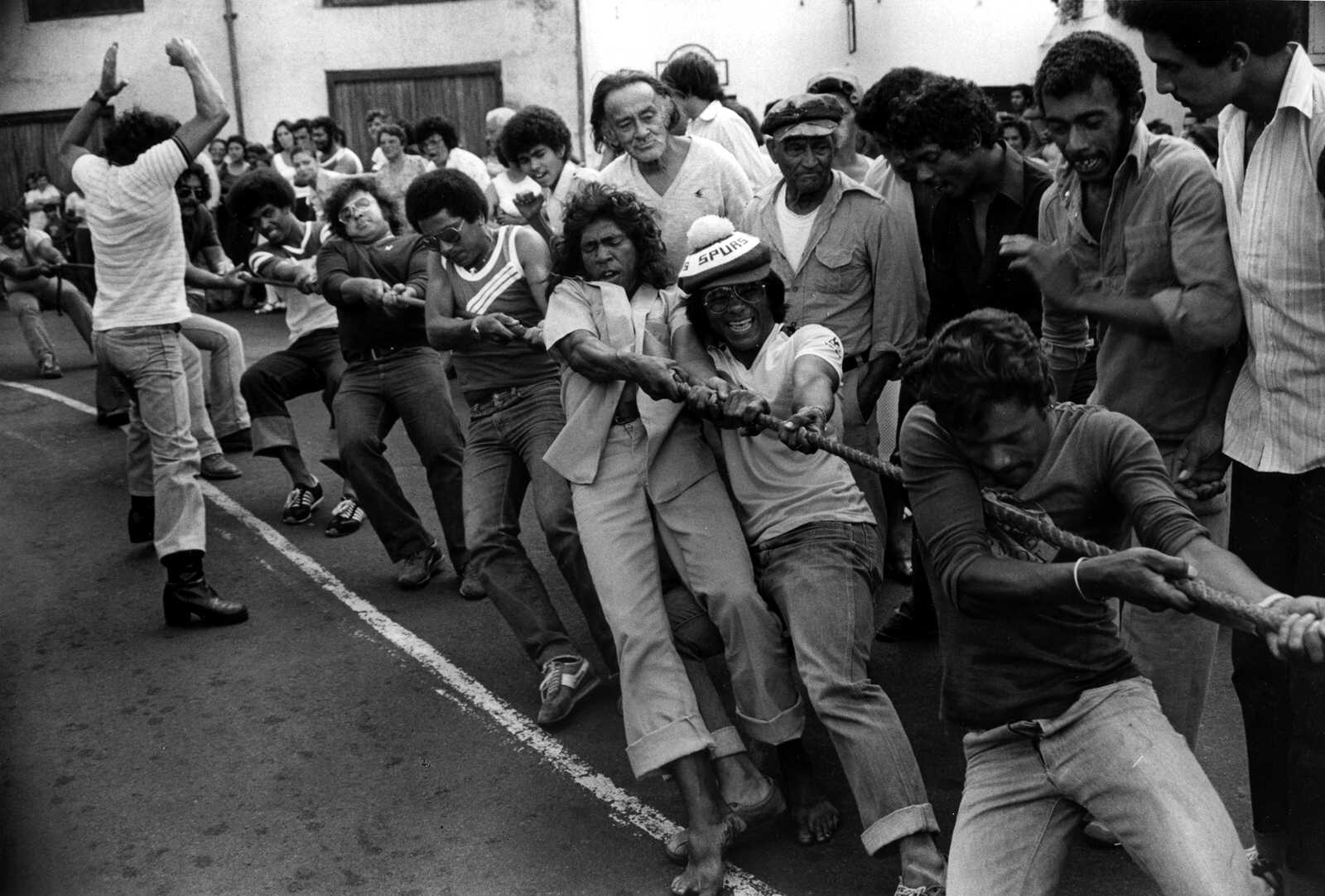 This does involve Saints! Tug-O-War on the Bridge early 1980s recognise anyone‽‽ Saint Helena Island Info Sport in St Helena