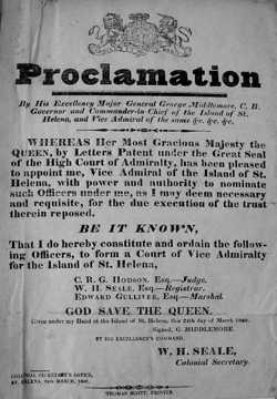 Proclamation setting up the Vice-Admiralty Court [Saint Helena Island Info:Slaves and slavery]