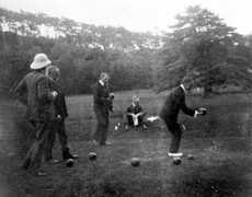 Governor Gallwey (right) playing bowls