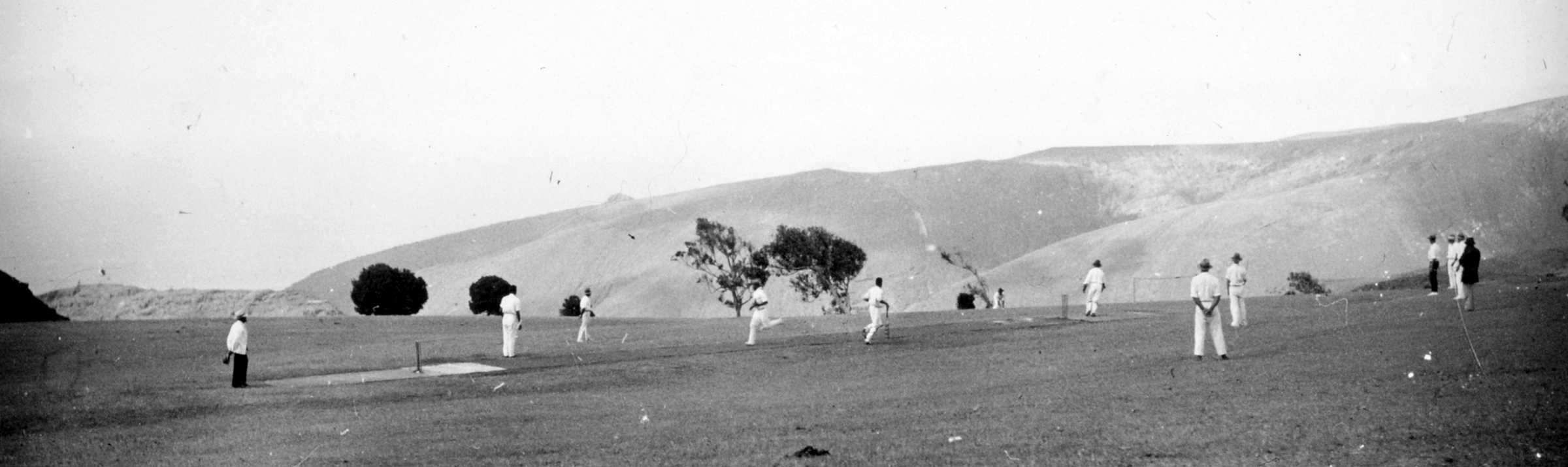 Cricket on Francis Plain, 1930s - note the slope!