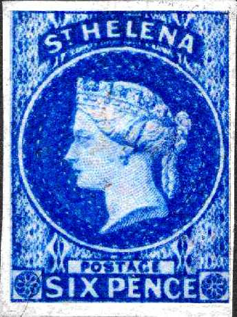 The 1856 6d Blue Saint Helena Island Info Postage Stamps