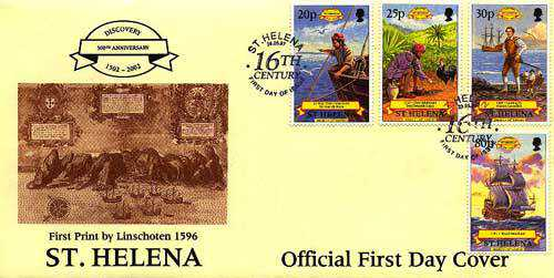 First Day Cover Early settlers Saint Helena Island Info Postage Stamps