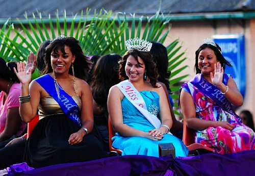 Miss St Helena and her entourage