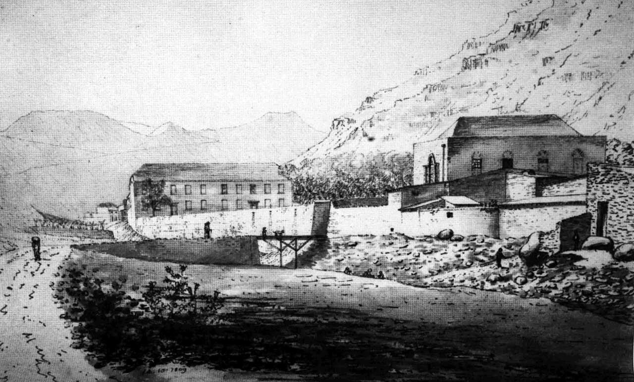 Theatre (right) and Barracks, 1809 [Saint Helena Island Info:Theatres]