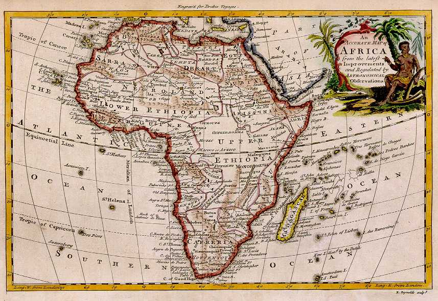 Reynolds' Map of Africa 1771 Saint Helena Island Info Two St Helenas?