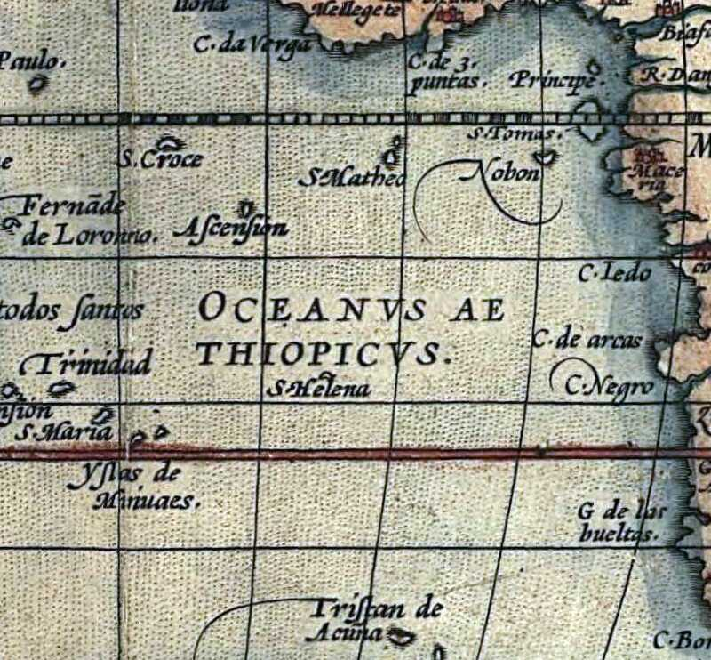 Ortelius' 'World Map' from 1570 Saint Helena Island Info Two St Helenas?