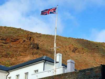 Union Flag over The Castle (Click to see the full-sized image, opens in a new window or tab) [Saint Helena Island Info:Our Flag]