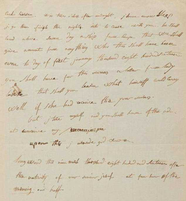 Broken English: In the rare letter, Napoleon reveals his difficulty in mastering the language