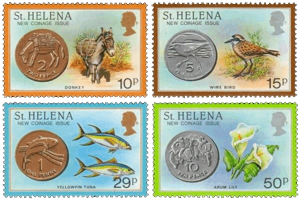Stamps for first St Helena coins