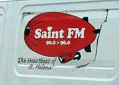 Van-side advert for SaintFM